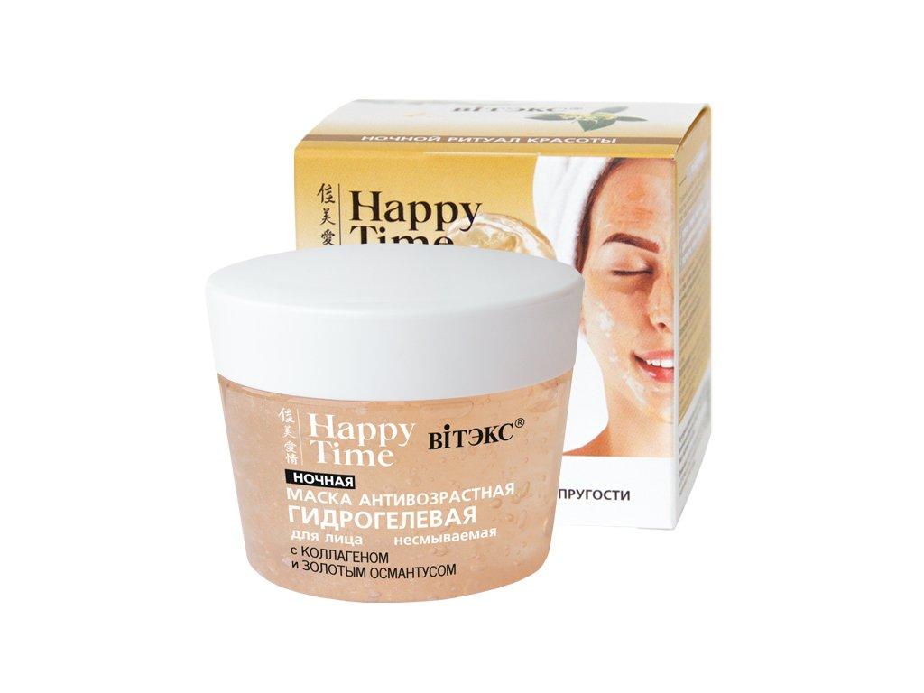 Happy Time – Noční anti age hydrogelová pleťová maska s kolagenem a zlatým osmanthem