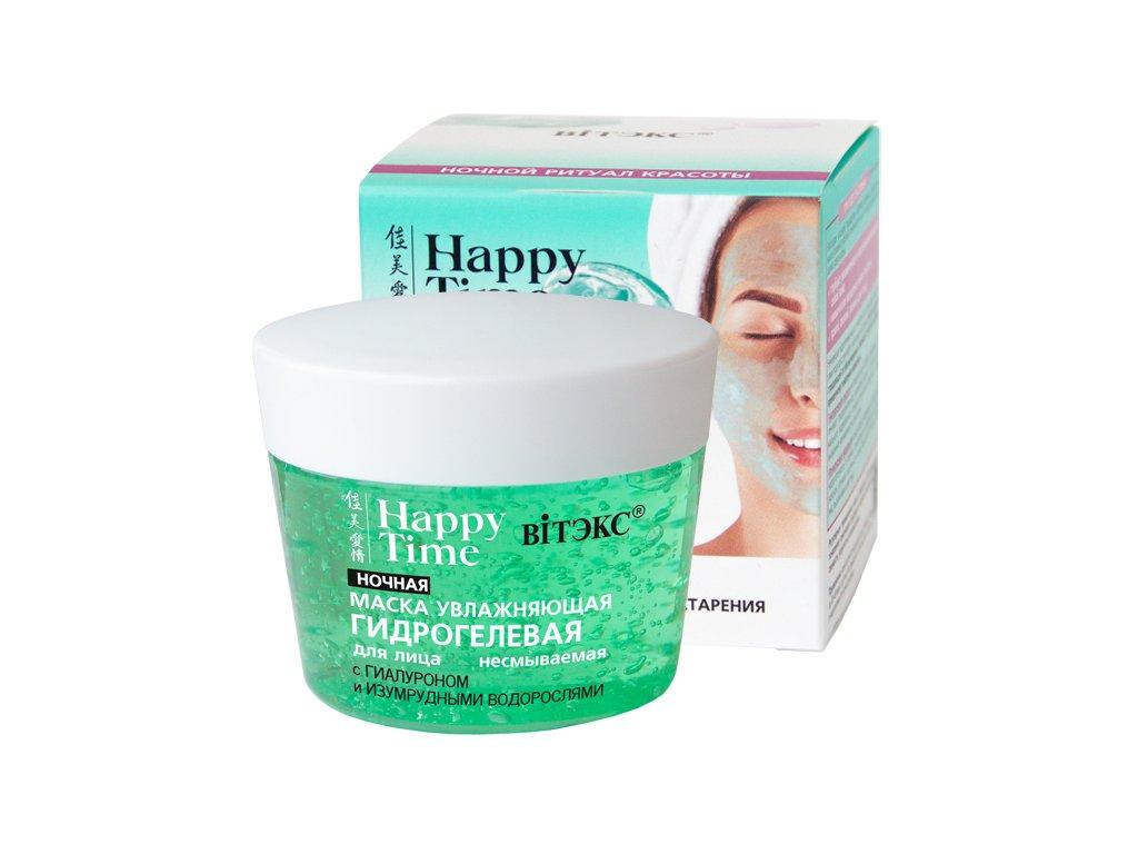 Happy Time – Noční zvlhčující hydrogelová pleťová maska s kyselinou hyaluronovou a smaragdovými mořskými řasami