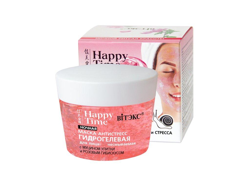 Happy Time – Noční hydrogelová maska antistres s hlemýždím mucinem a růžovým ibiškem