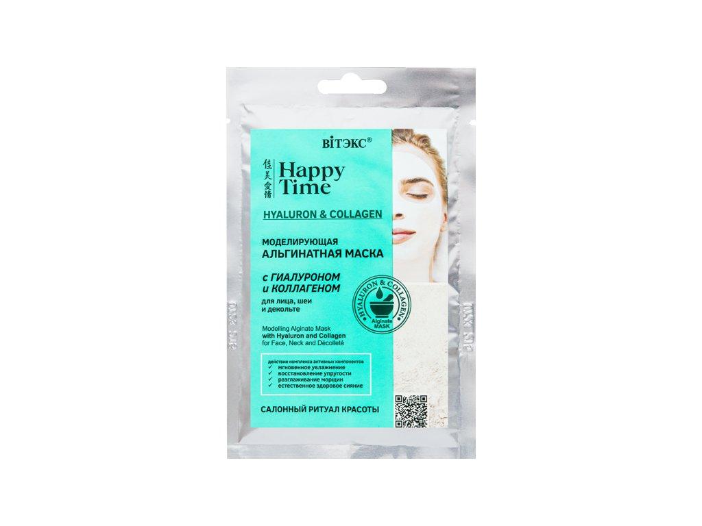Happy Time – Alginátová pleťová maska s hyaluronem a kolagenem na obličej, krk a dekolt
