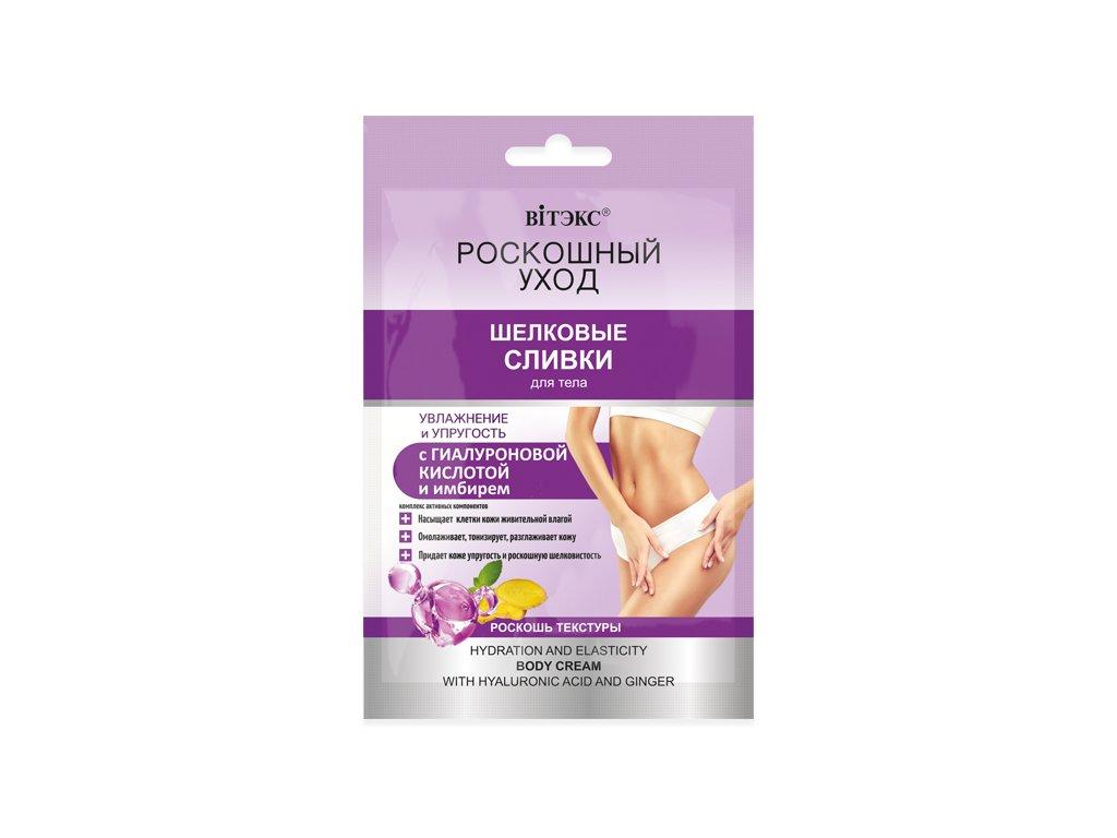 Luxusní péče – Hedvábný tělový krém Hydratace a pružnost s kyselinou hyaluronovou
