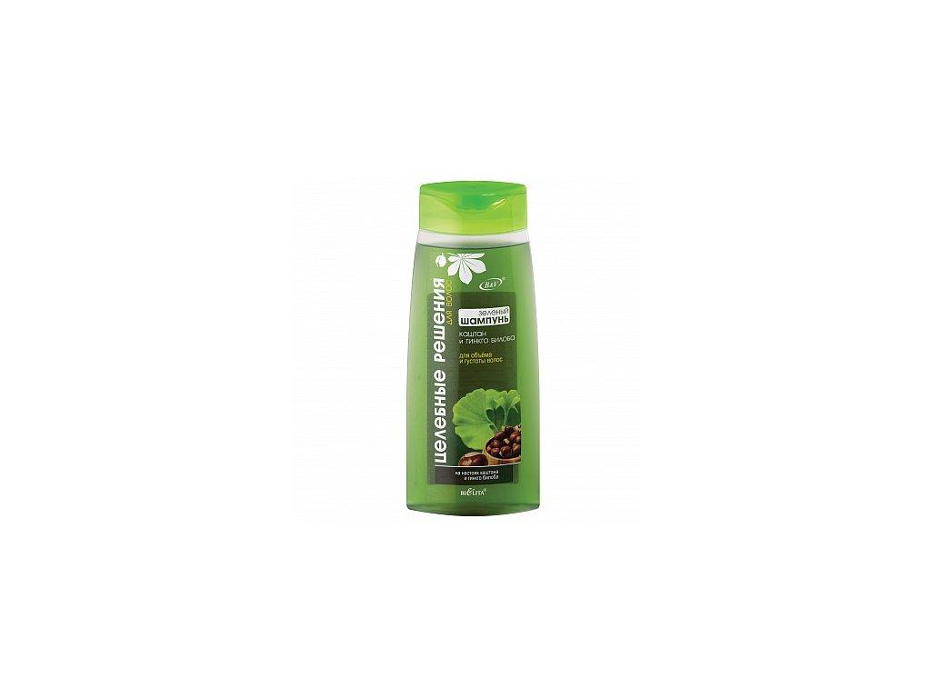 Zdravotní řešení zelený šampon pro objem a hustotu vlasů – kaštan a gingo biloba