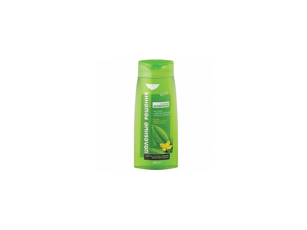 Zdravotní řešení speciální šampon proti mastným vlasům a mastné pokožce hlavy s vlaštovičníkem a Tea Tree olejem