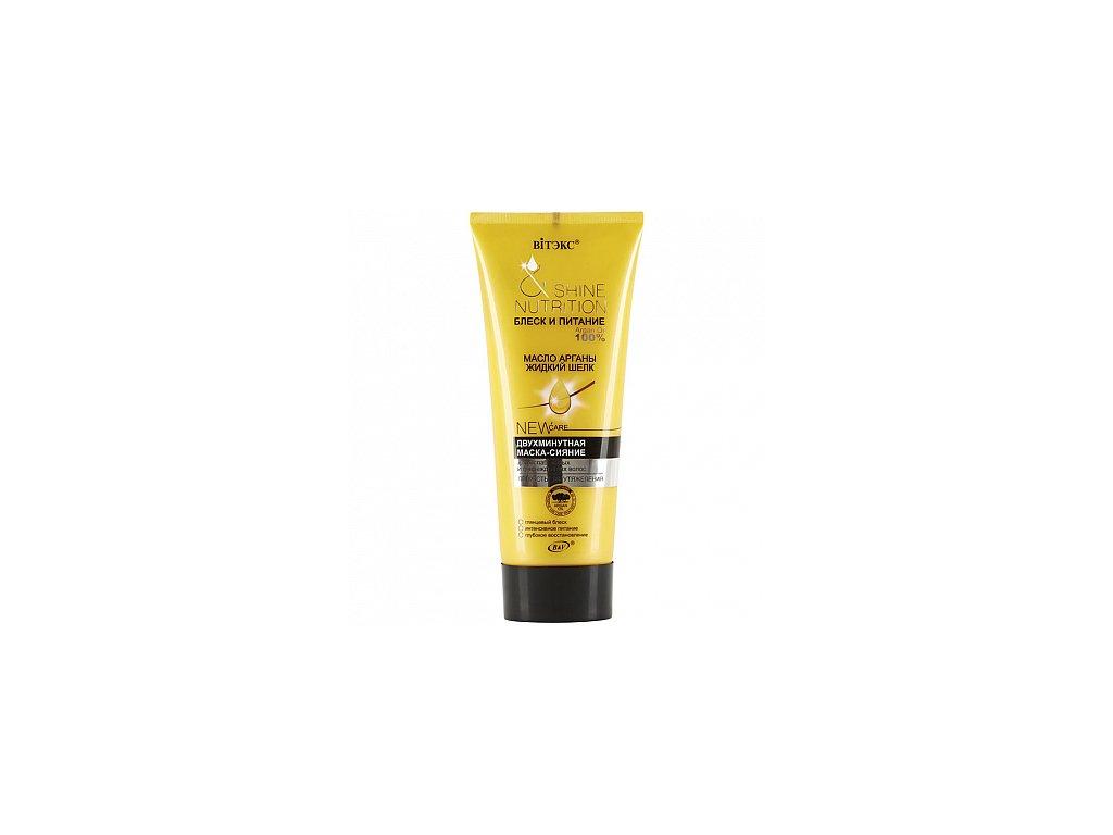 Lesk a Výživa maska s arganovým olejem a tekutám hedvábím pro slabé a poškozené vlasy