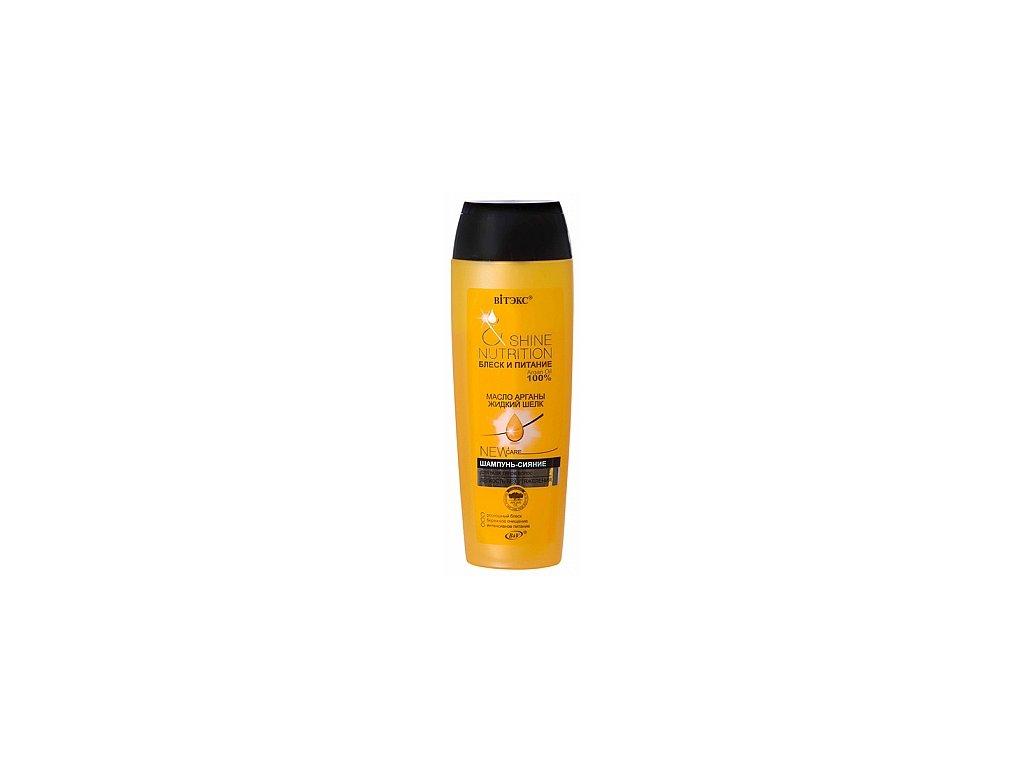 Lesk a Výživa šampon s arganovým olejem a tekutým hedvábím pro všechny typy vlasů