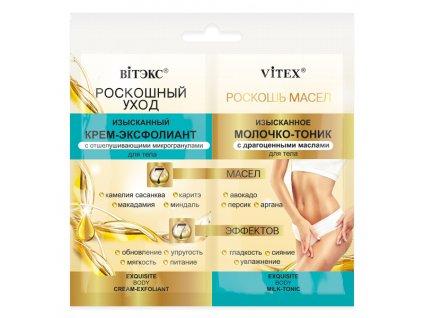 Luxusní péče – Tělový krém peeling s exfoliačními granulemi + tělové mléko tonik s drahocennými oleji