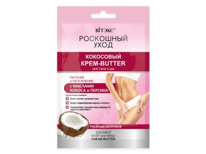 Luxusní péče – Kokosový krémový olej na tělo a ruce s kokosovým a broskvovým olejem