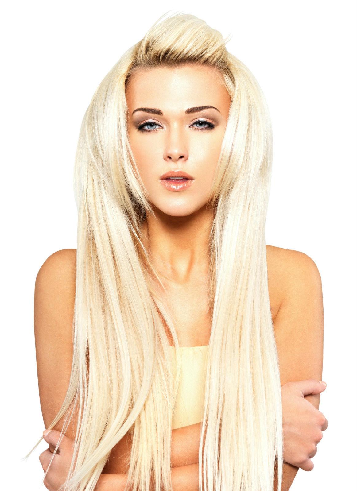 #60 nejsvětlejší blond klasické clip in 55m 120g