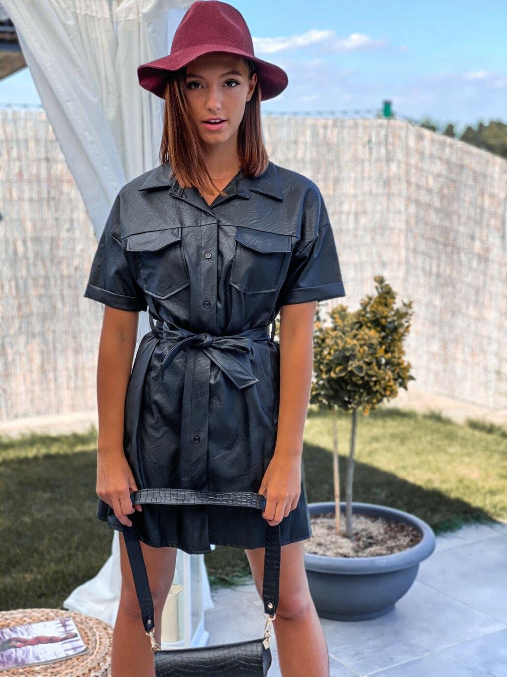 -Dámské koženkové šaty Černá,UNI