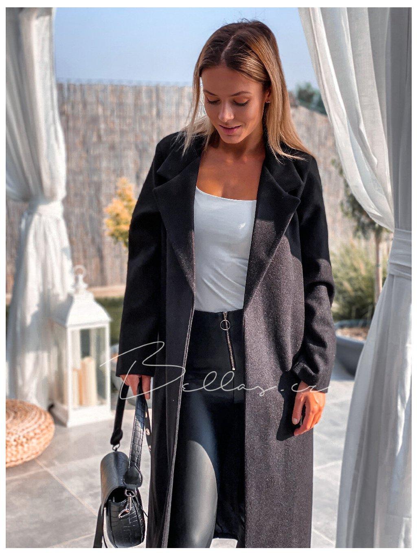 -Dámský kabát s páskem Tmavě šedá,UNI
