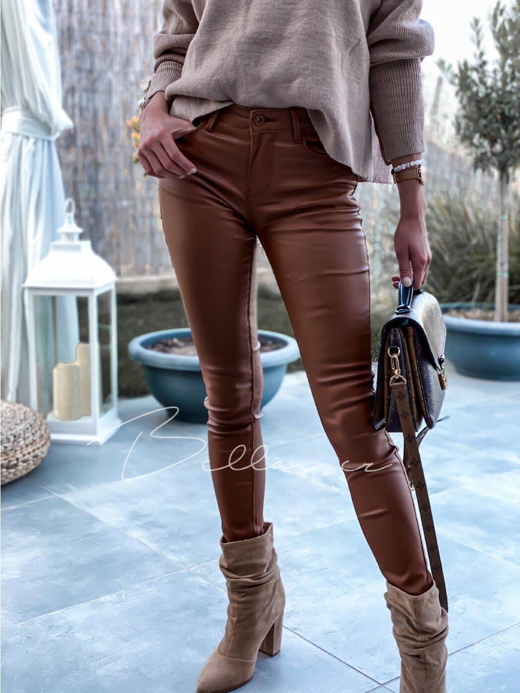 -Dámské camel kalhoty XS