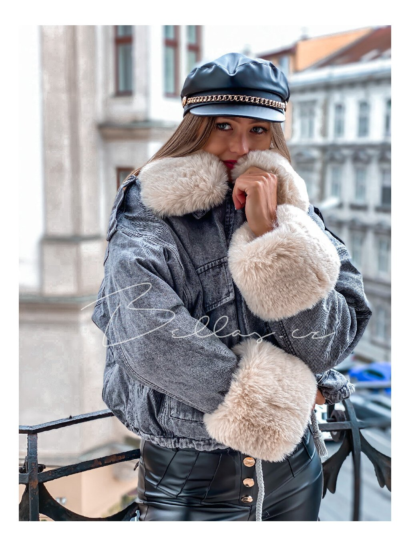 -Dámská riflová bunda s kožíškem UNI