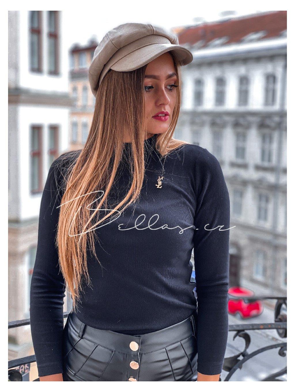 -Dámské tričko s broží Černá,S/M