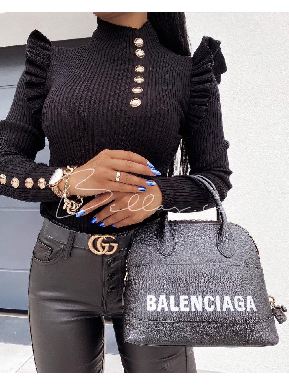 -Dámský elegantní svetřík- Elle Černá