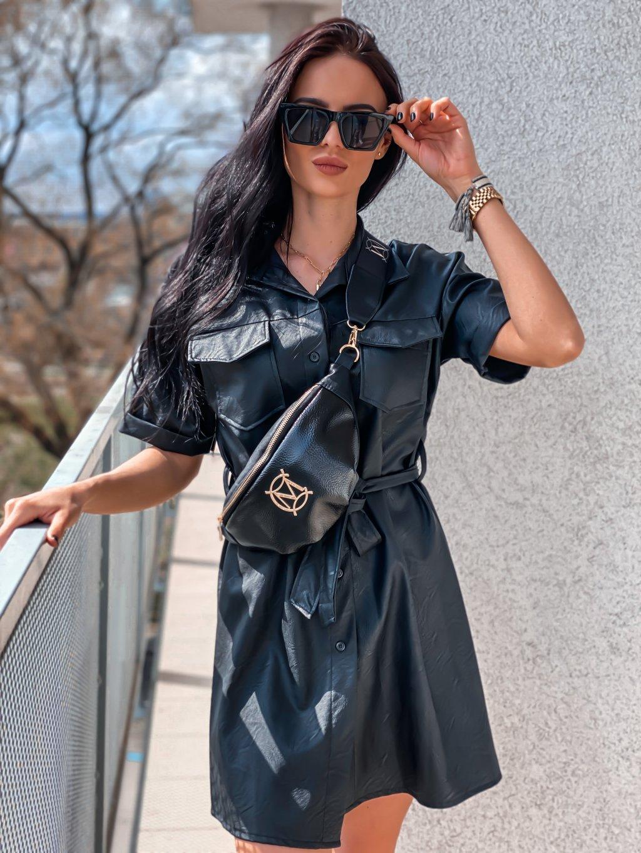 -Dámské koženkové šaty
