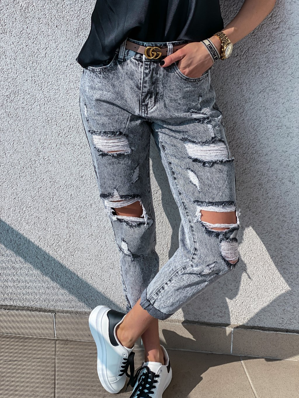 -Dámské rifle Mom Jeans