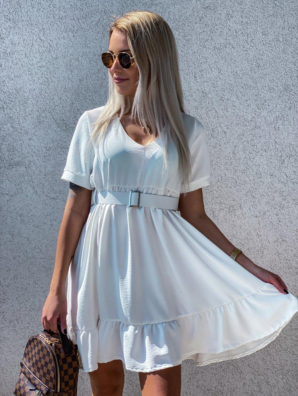 - Dámské šaty Sisley/ Bílá/ světle růžová