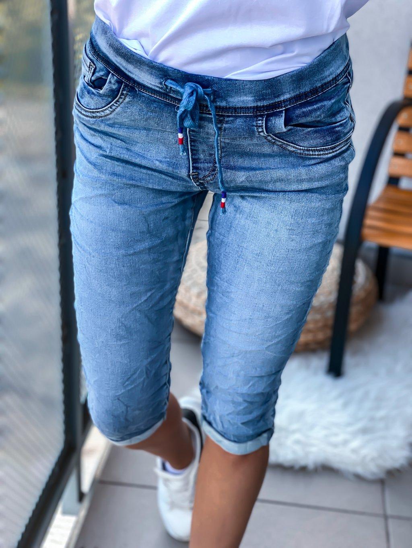 - Dámské riiflové kraťasy s gumovým pasem