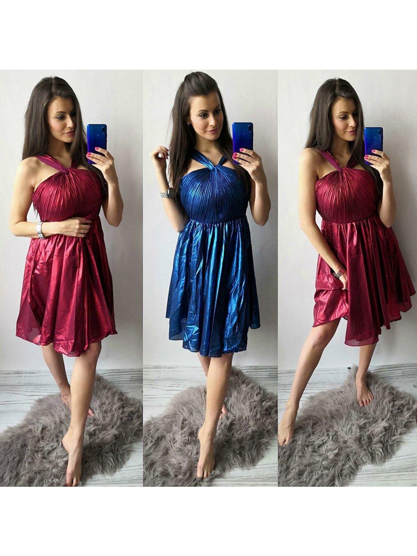 -Dámské společenské šaty Line Modrá,S/M