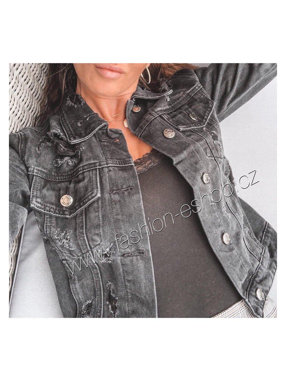 -Dámská černá riflová bunda SHOCK XXL