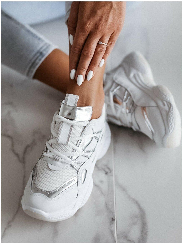 -Dámské tenisky White Silver 37