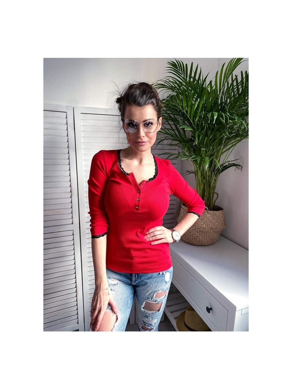 -Dámská trička s krajkou Ema s 34 rukávem Červená