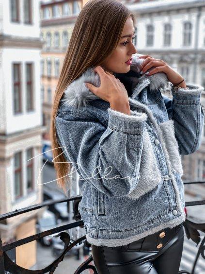 -Dámská riflová bunda s kožešinkou S