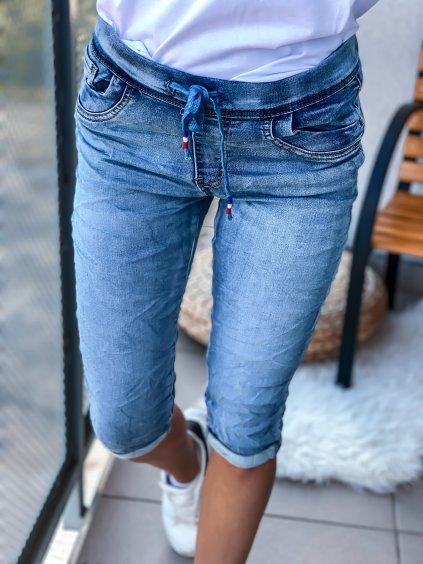 Dámské riiflové kraťasy s gumovým pasem