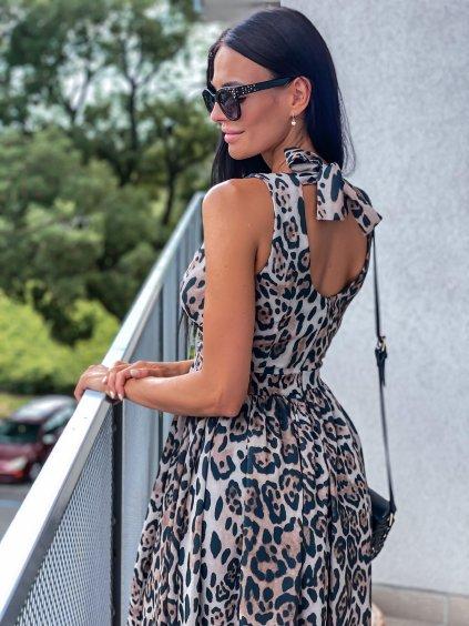 Luxusní dlouhé šaty Amálie/ Tygrovaná/ Červená