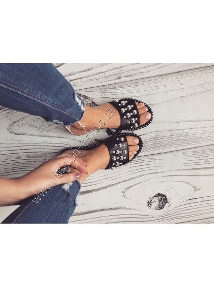-Dámské pantofle Stříbrná,36