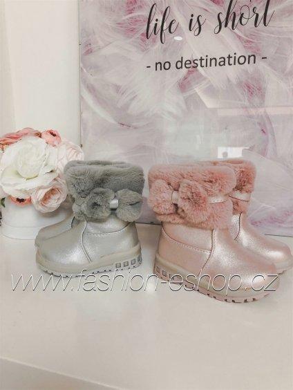 -Dětské zimní boty světle růžuvá,25
