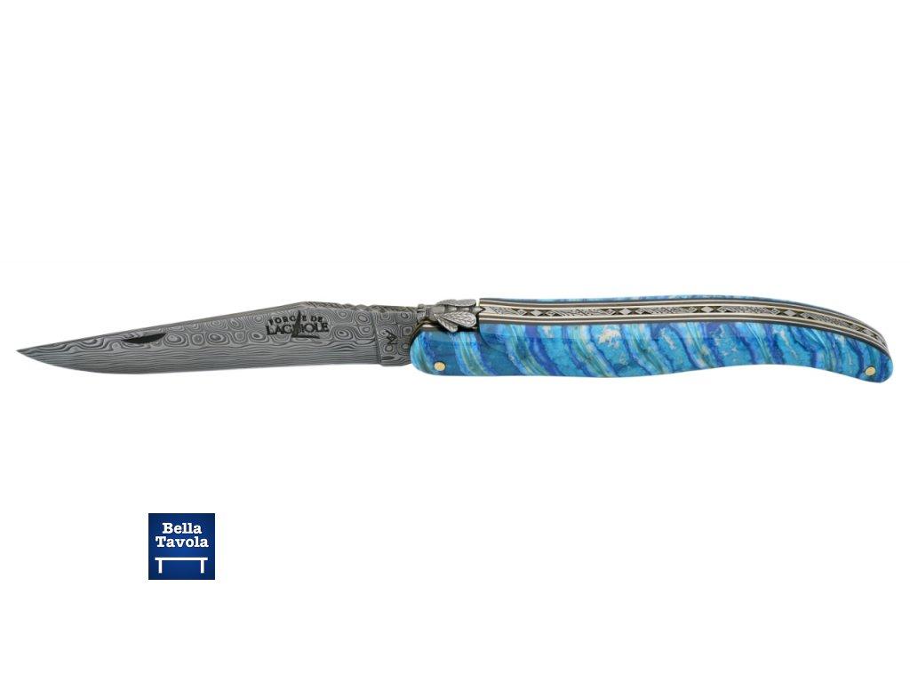 18330 forge de laguiole collector vreckovy noz 12 cm modra rucka z mamutej zubnej stolicky