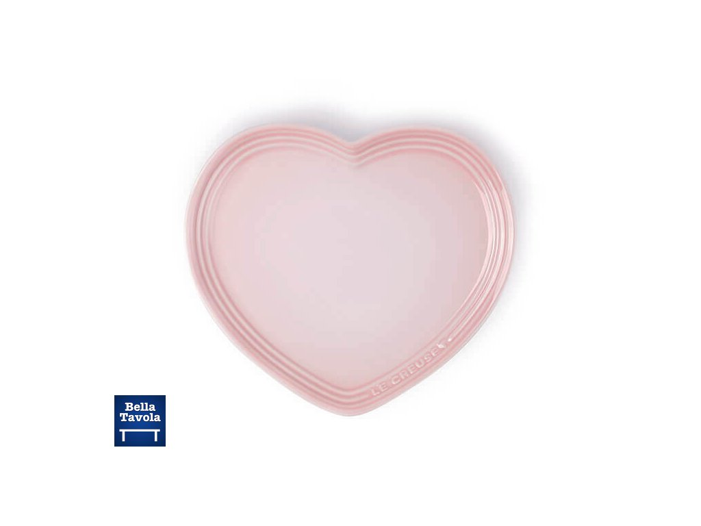 60210237770099 Le Creuset Stoneware Heart Plate Shell Pink