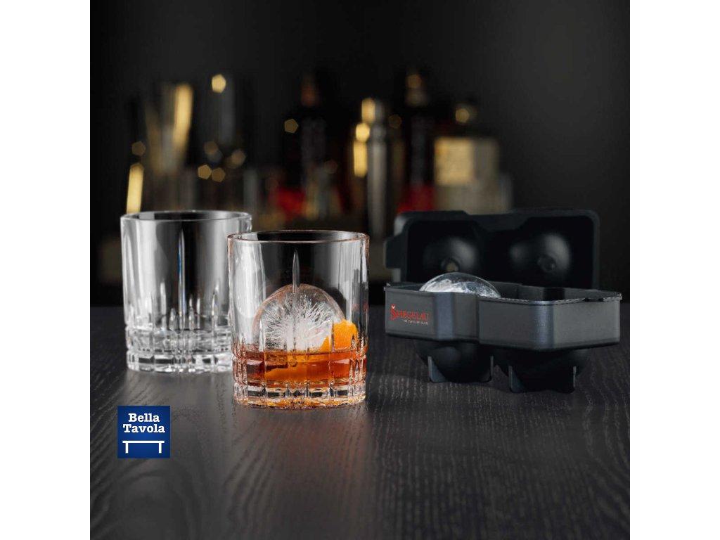 Spiegelau: Set 2 ks pohárov whisky Perfect Ice Cube + 1 zásobník na ľad - guľový