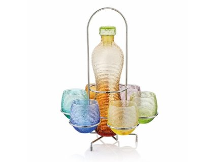 21225 ivv multicolor set 6 ks poharov na vodu flasa drziak