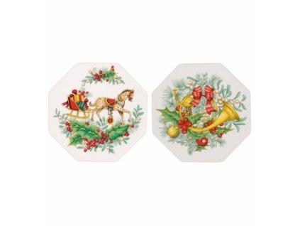 26727 vista alegre set 2x porcelanova plaketa 4x4cm christmas magic