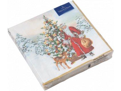 Villeroy & Boch - veľké servítky Santa so stromčekom, 33x33 cm - Winter Specials