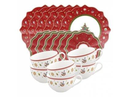 -15% Villeroy & Boch: Vianočný kávový set 18 ks pre 6 osôb, červený