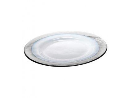 Zafferano - sklenený tanier Strip, biely