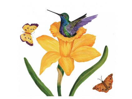 Servítky malé - 25x25 cm - Narcis a kolibrík