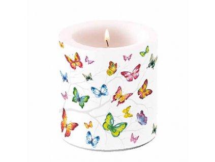 Sviečka Farebné motýle - malá, 7,5 x 8 cm - Ambiente Europe BV