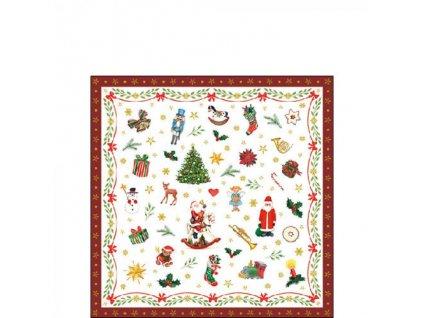 Servítky malé ornament červené