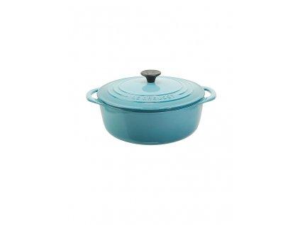 Le Creuset  -  Liatinový Gourmet hrniec/pekáč okrúhly s pokrievkou 22 cm - karibik