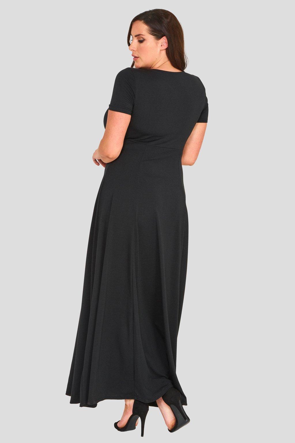 bcb63175656 Dlouhé šaty Goa s hlubokým výstřihem černé - Bellazu.cz