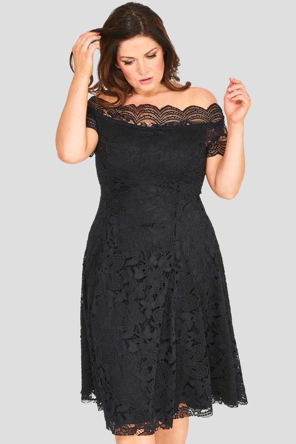 Krajkové šaty Avant Garde s rozšířenou sukní černé 2