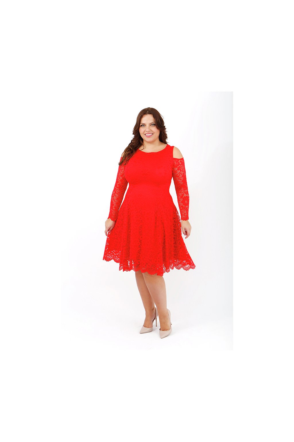Krajkové šaty Pearl s odhalenými rameny červené - Bellazu.cz faa9b452b4