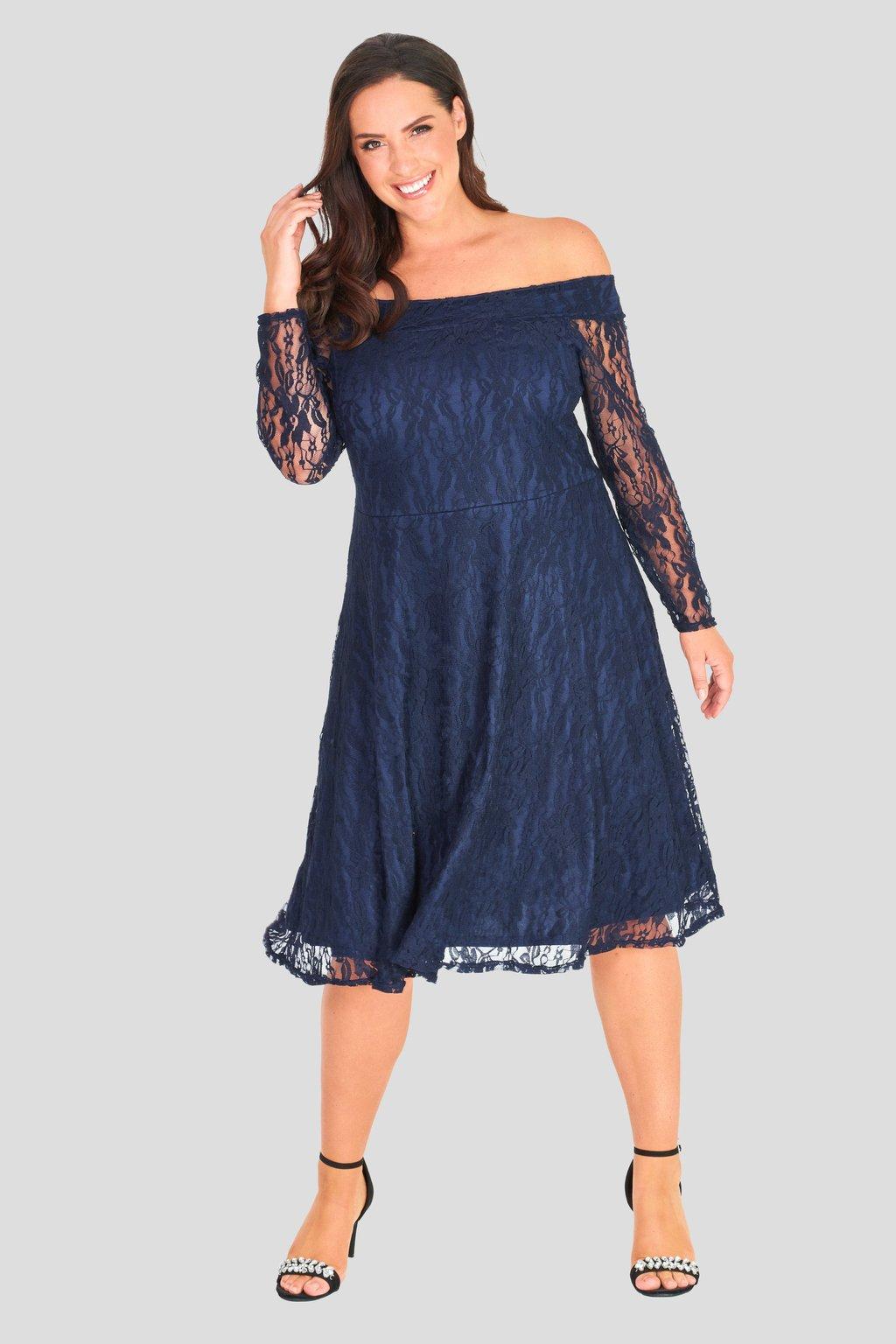 Krajkové šaty Cosham s rukávem tmavě modré 2