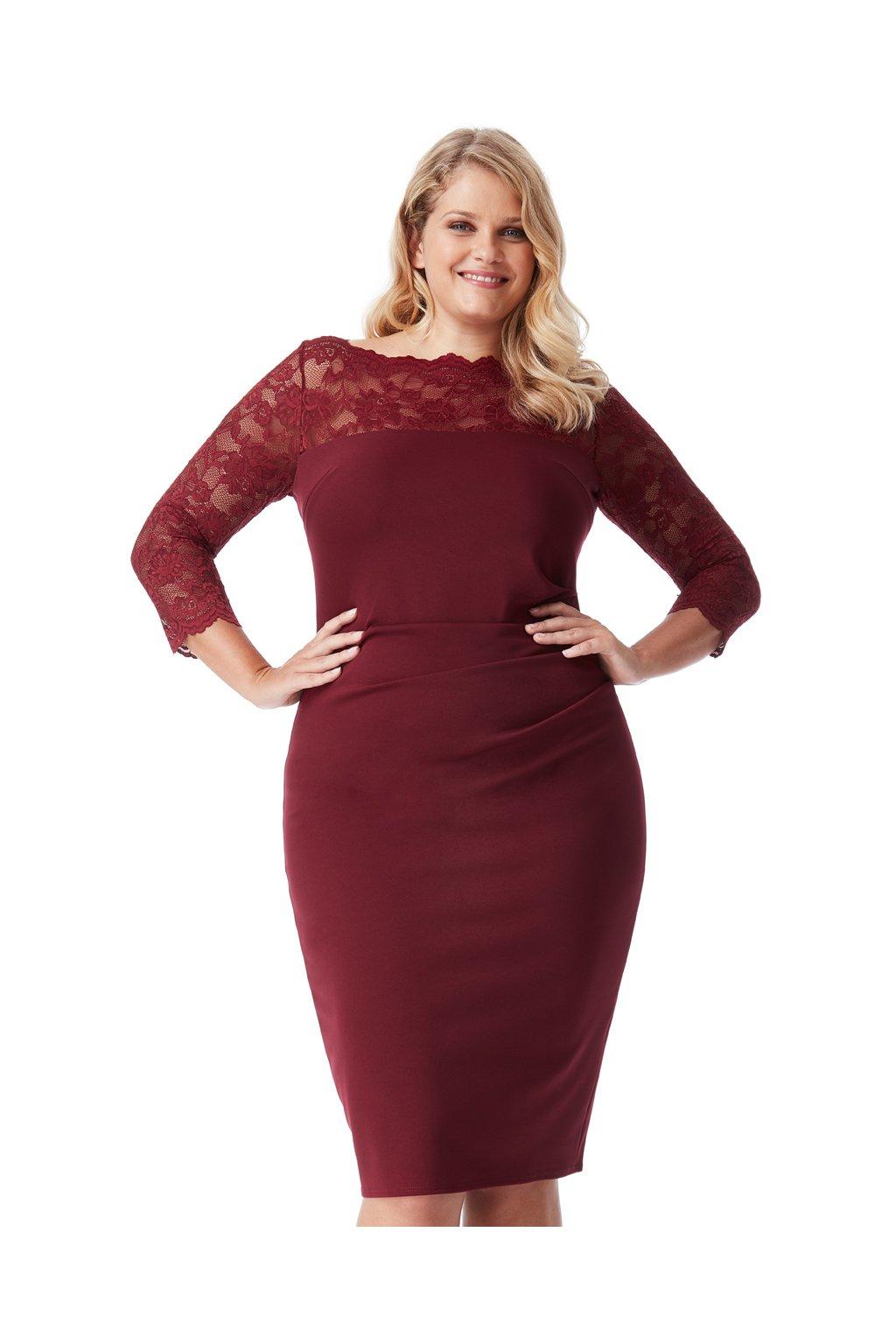 Pouzdrové šaty Leila s krajkovým dekoltem 4
