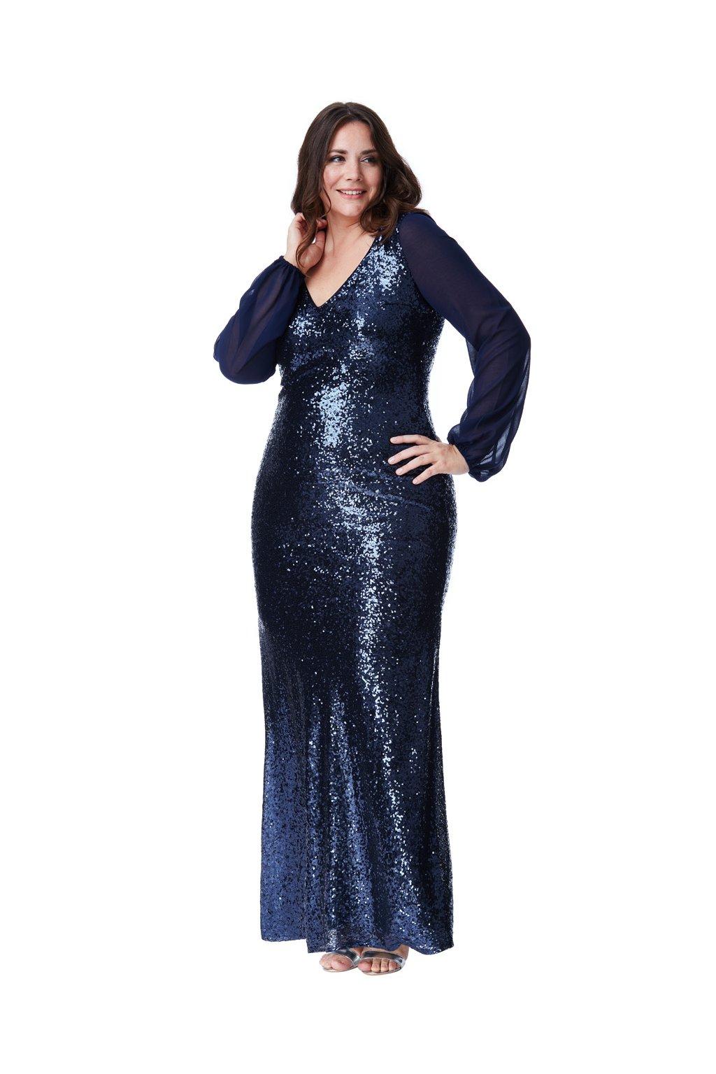 Dlouhé plesové šaty Sofi s flitry modré - Bellazu.cz 842203091d