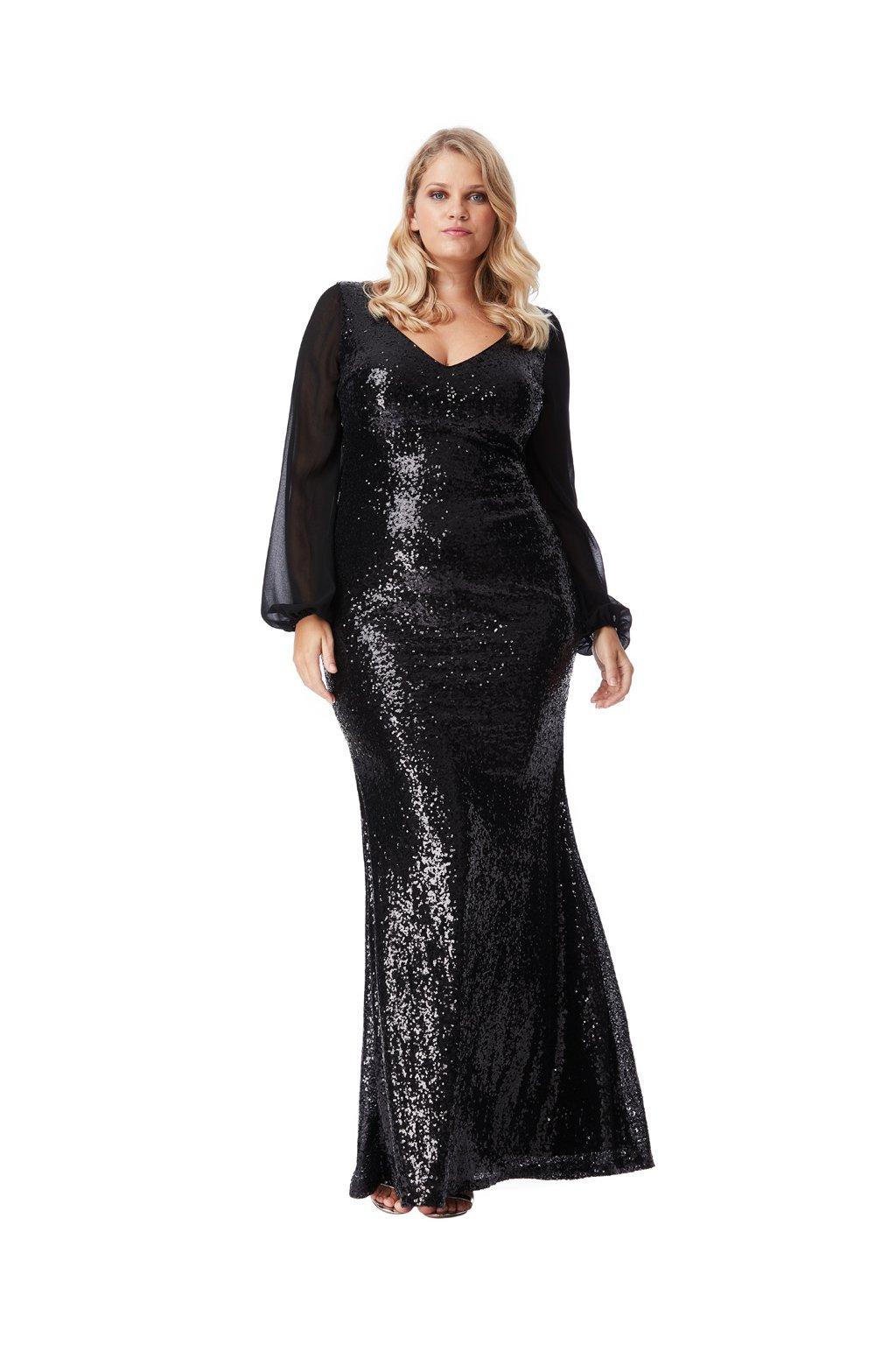 Dlouhé plesové šaty Sofi s flitry černé - Bellazu.cz 1e4f075565